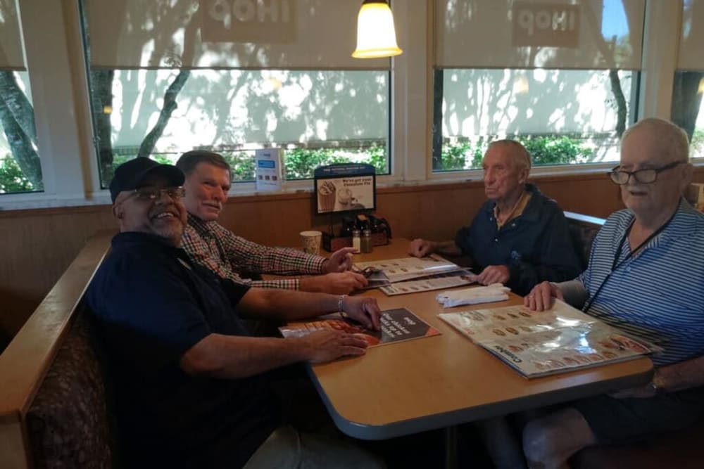 Residents enjoying a meal out near Inspired Living in Bonita Springs, Florida.