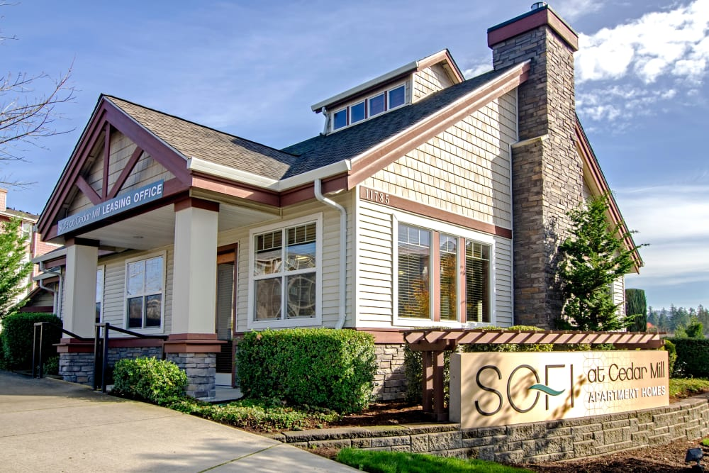 Exterior view of the clubhouse at Sofi at Cedar Mill in Portland, Oregon