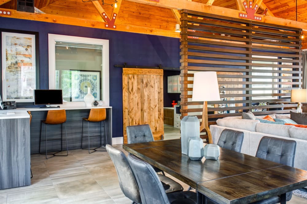 Well-decorated clubhouse interior at Sofi at Cedar Mill in Portland, Oregon