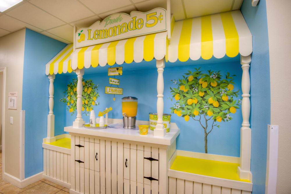 Resident lemonade stand at Inspired Living Hidden Lakes in Bradenton, Florida.