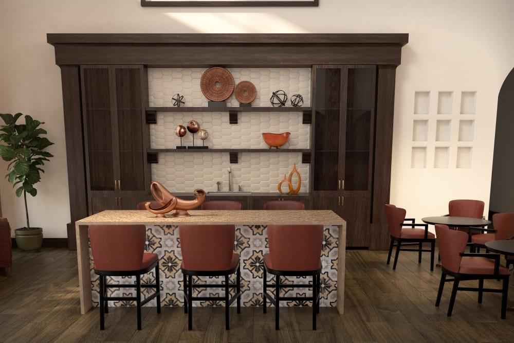 Private family dining room at Regency Palms Oxnard in Oxnard, California