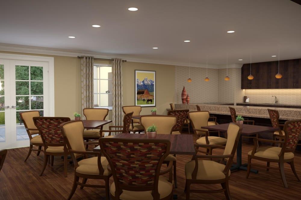 Main dining hall with hardwood floors at Regency Palms Oxnard in Oxnard, California