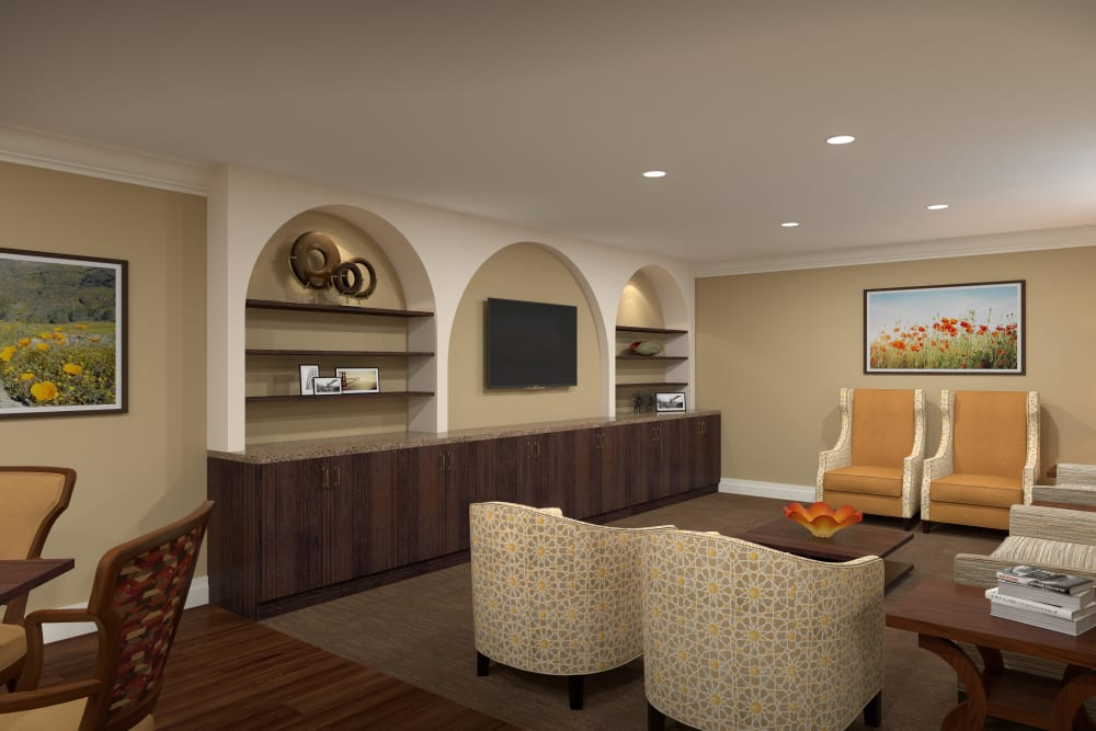 Lounge with a tv and lots of comfortable seats at Regency Palms Oxnard in Oxnard, California