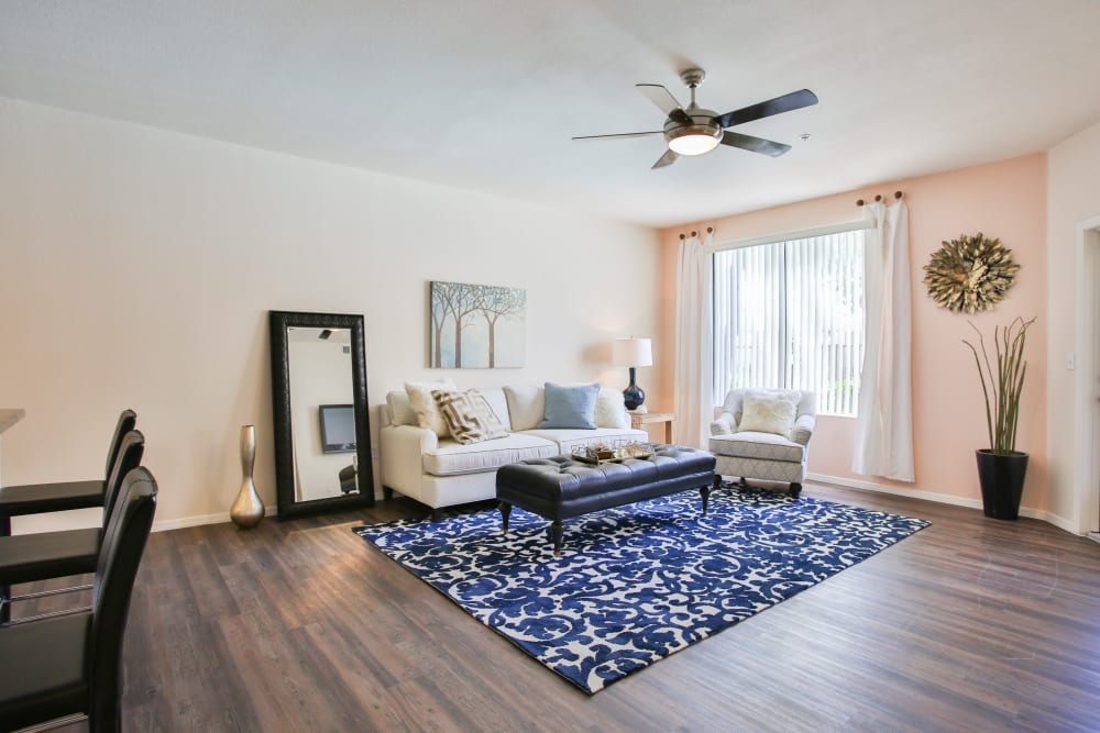 Modern decor in living area of model home at Spectra on 7th South in Phoenix, Arizona