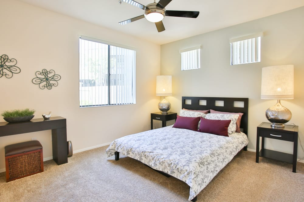 Master bedroom with a window at Spectra on 7th South in Phoenix, Arizona