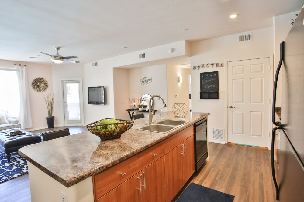 Gourmet kitchen in model home at Spectra on 7th South in Phoenix, Arizona