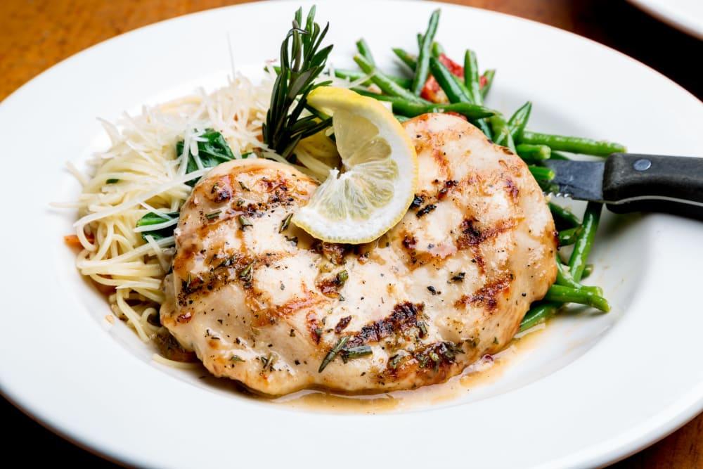 Chicken and pasta dish at Meridian at Ocean Villa & Bella Mar in Santa Monica, California
