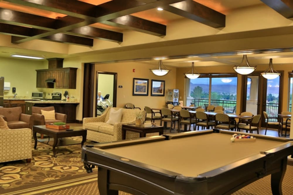 A common area with a pool table at The Retreat at Sunbrook in St. George, Utah