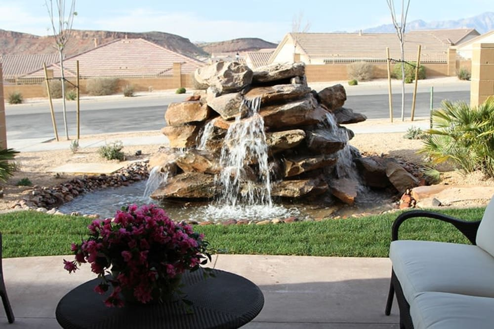 A babbling fountain at The Retreat at Sunriver in St. George, Utah