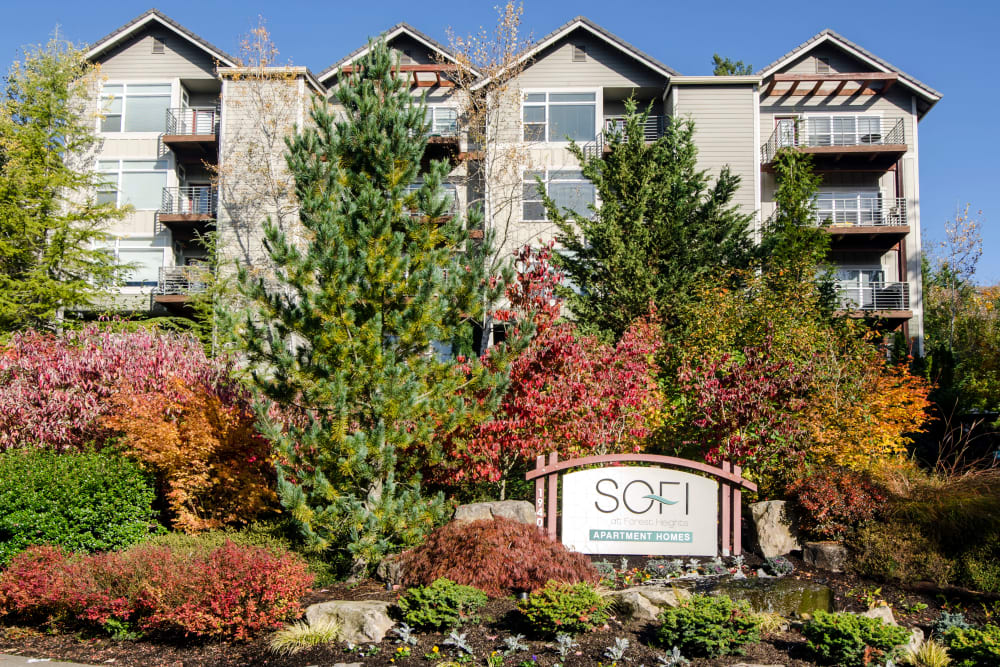Our sign welcoming residents and their guests to Sofi at Forest Heights in Portland, Oregon