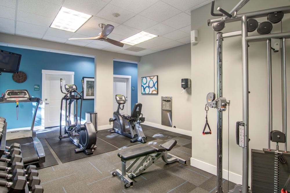 Cardio and weight machines in the onsite fitness center at Sofi at Forest Heights in Portland, Oregon