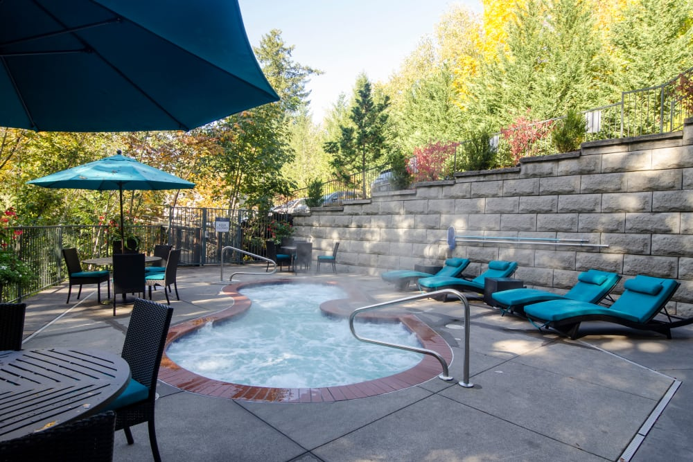 Spa area on a sunny morning at Sofi at Forest Heights in Portland, Oregon