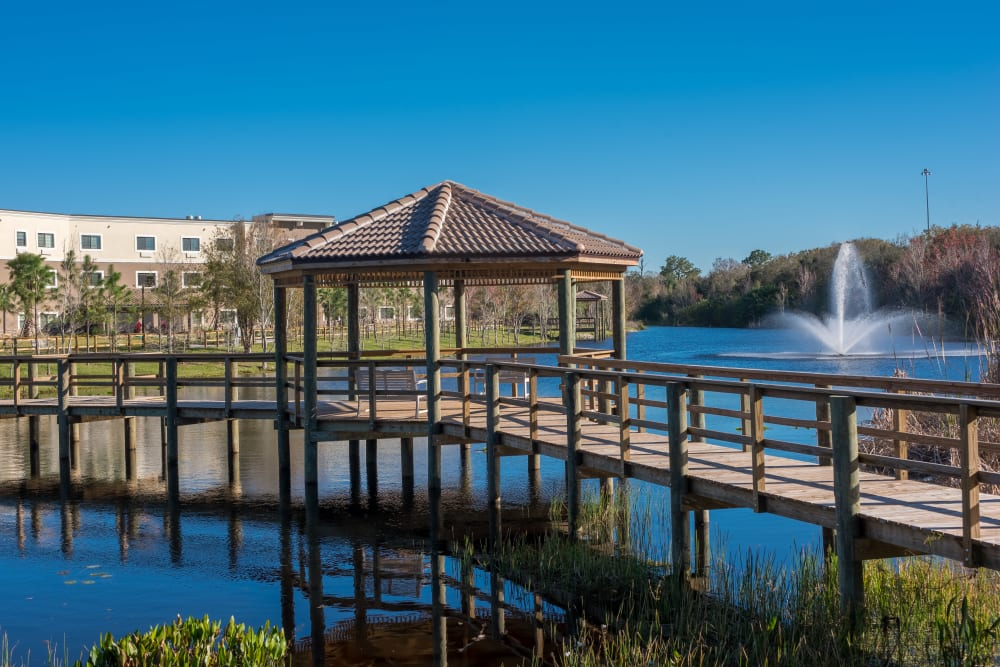 A gazebo next to a bridge at Inspired Living Lakewood Ranch in Bradenton, Florida.
