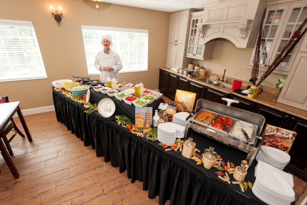 A buffet meal at Inspired Living Lakewood Ranch in Bradenton, Florida.