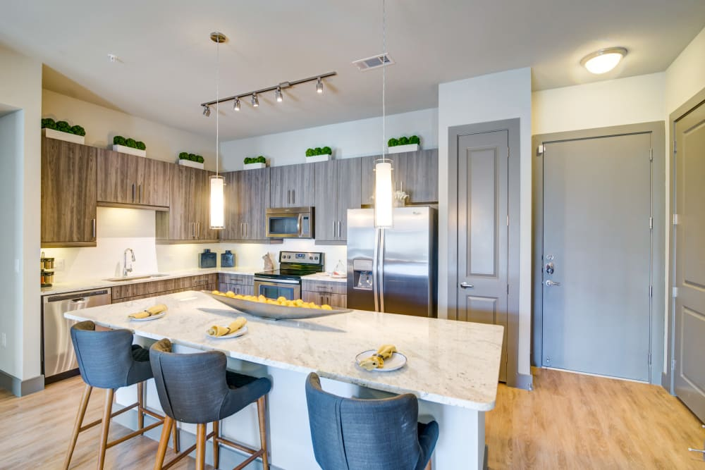 Stainless steel appliances in an apartment kitchen at The Abbey at Northpoint in Spring, Texas