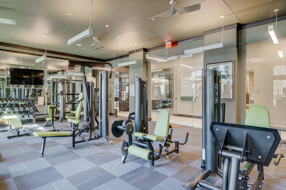 Exercise equipment in the gym at The Abbey at Northpoint in Spring, Texas
