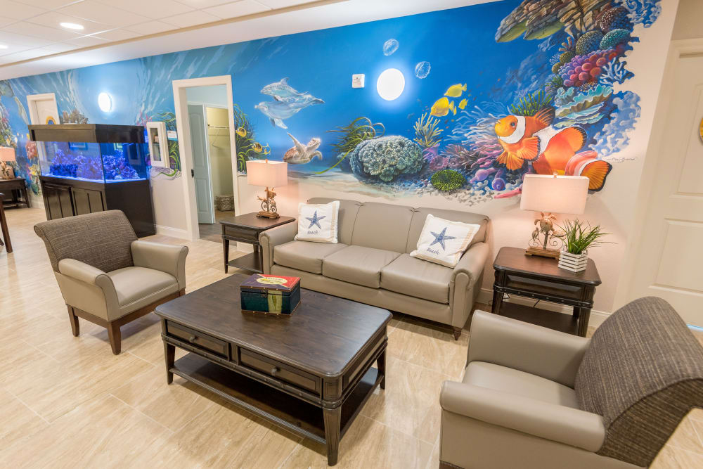 Common area and shared living room at Inspired Living Royal Palm Beach in Royal Palm Beach, Florida