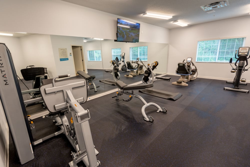 Fitness studio at Inspired Living at Royal Palm Beach in Royal Palm Beach, Florida.