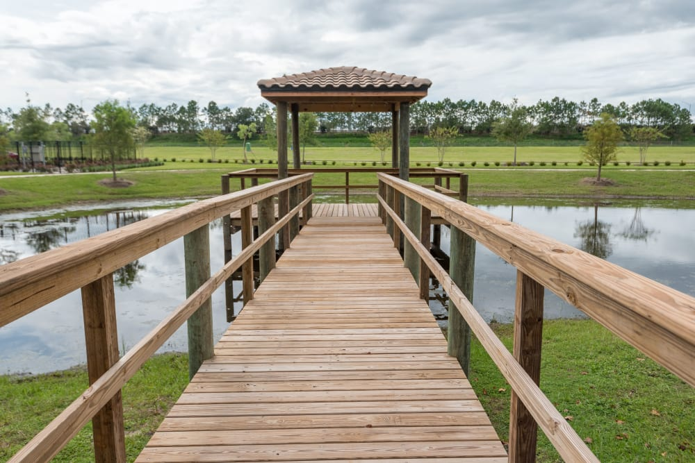 Gazebo overlooking the pond at Inspired Living at Royal Palm Beach in Royal Palm Beach, Florida.
