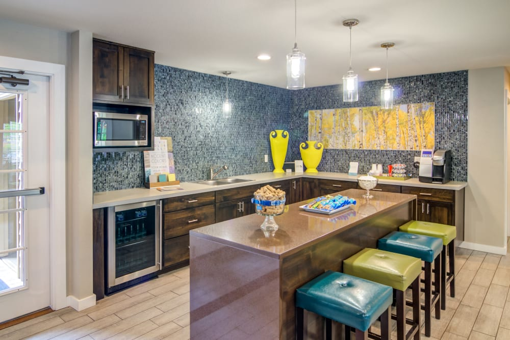 Demonstration kitchen in the clubhouse at Sofi Lake Oswego in Lake Oswego, Oregon