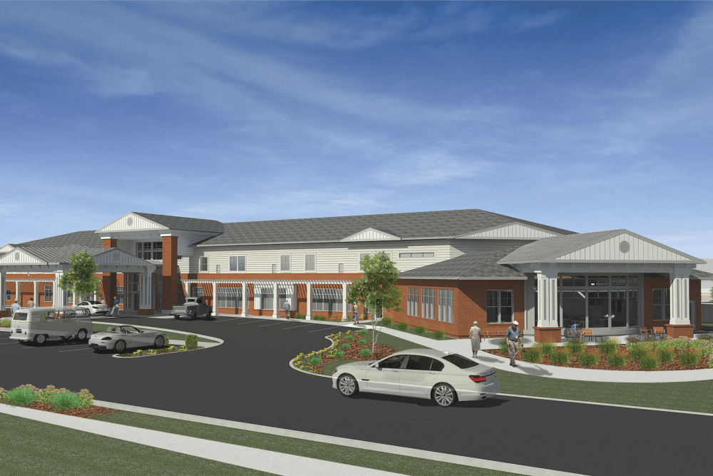 A rendering of the exterior of The Heritage at Fountain Point in Norfolk, Nebraska