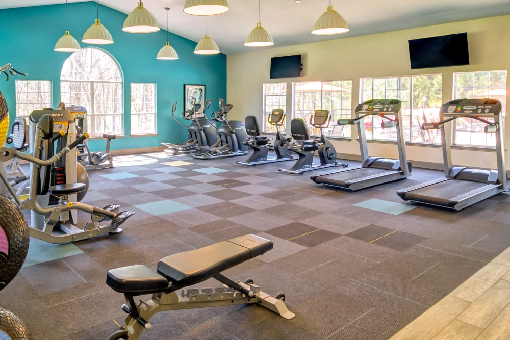 Plenty of cardio machines and exercise equipment in the fitness center at Sofi at Murrayhill in Beaverton, Oregon