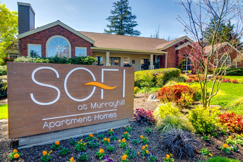 Our monument sign welcoming residents and their guests to Sofi at Murrayhill in Beaverton, Oregon