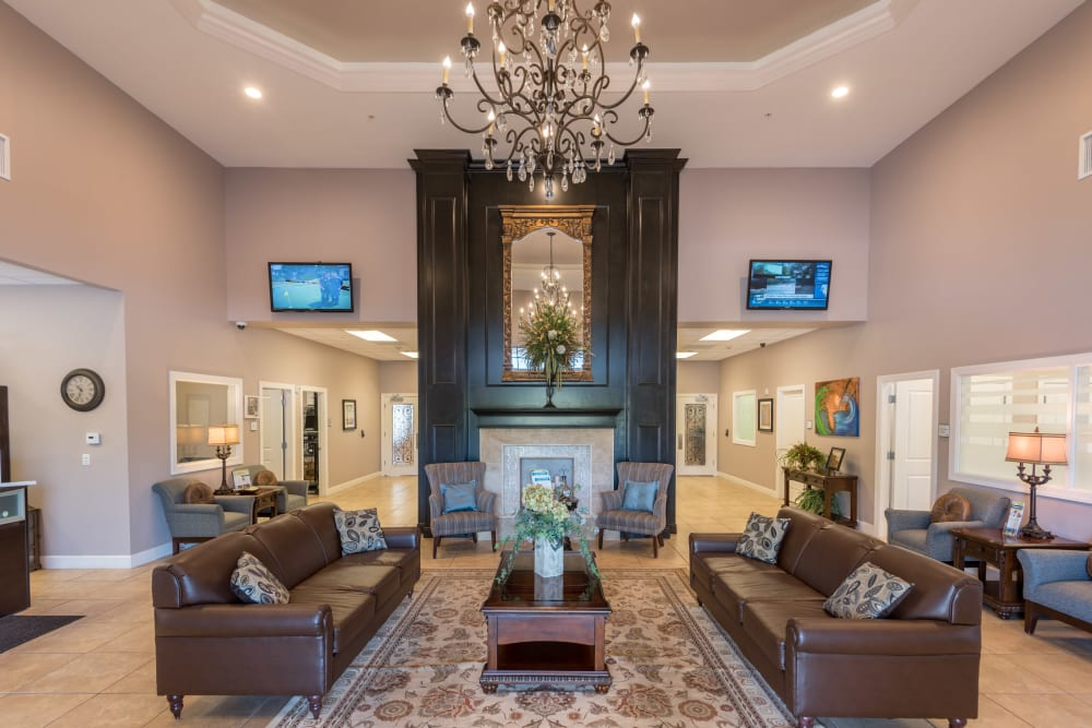 Comfy lobby at Inspired Living Ivy Ridge in St Petersburg, Florida.