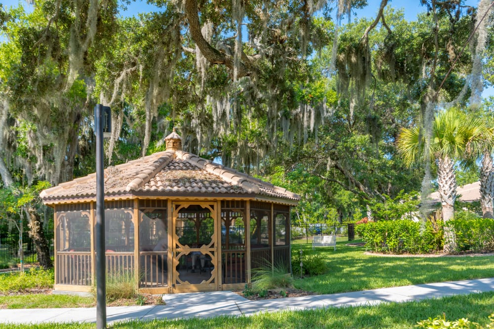 A shaded gazebo in the courtyard at Inspired Living Ivy Ridge in St Petersburg, Florida.