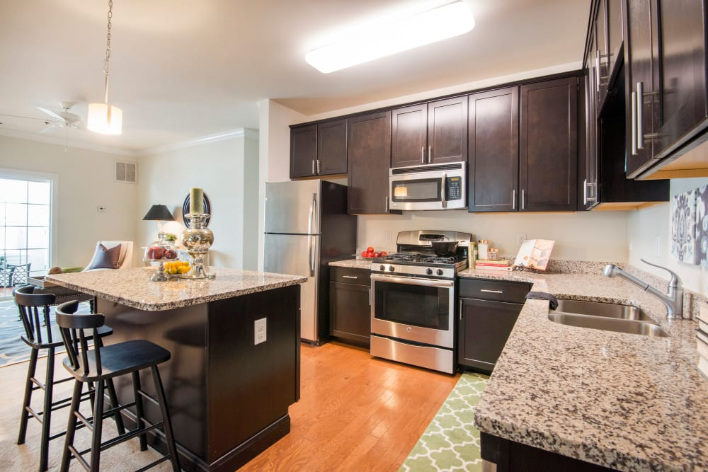 Fully equipped kitchen at Strafford Station Apartments in Wayne, Pennsylvania