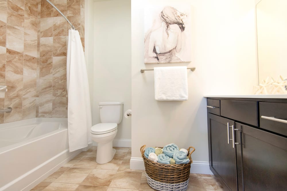 Spacious, bright bathroom at Strafford Station Apartments in Wayne, Pennsylvania