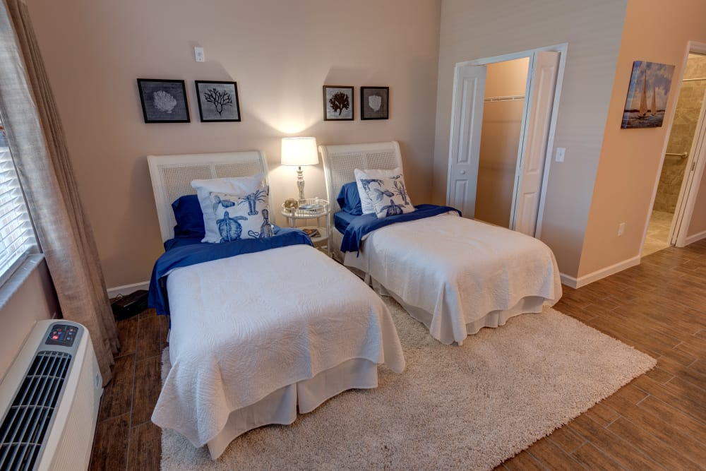 A companion bedroom at Inspired Living Tampa in Tampa, Florida.
