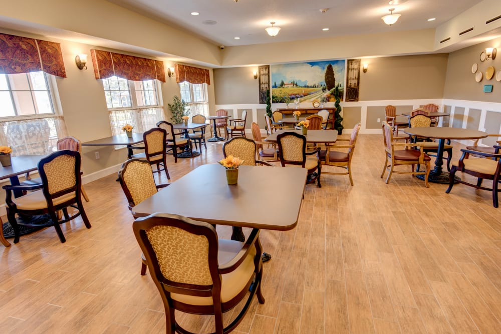Resident dining room with large windows at Inspired Living at Tampa in Tampa, Florida.