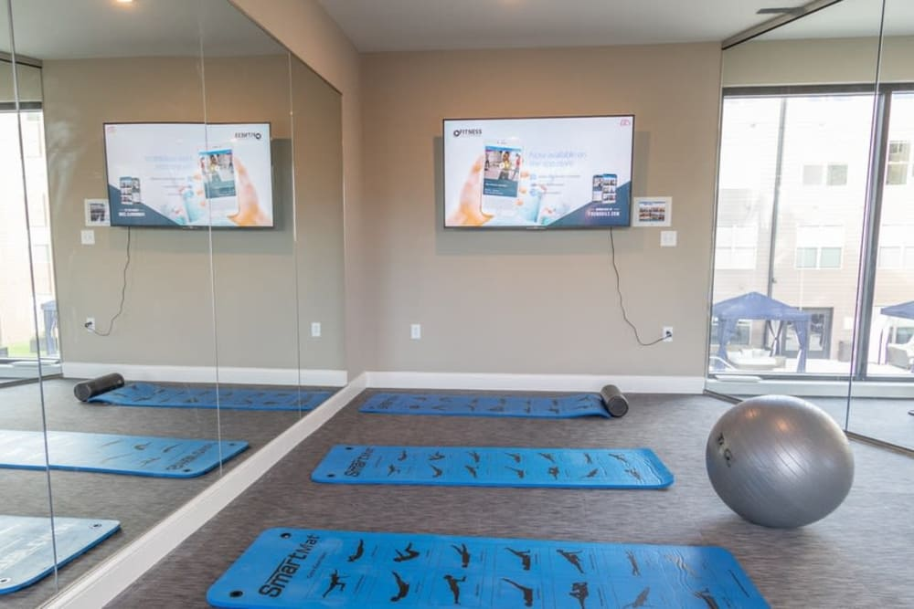 Feel zen in the yoga studio at your new apartment in St. Louis