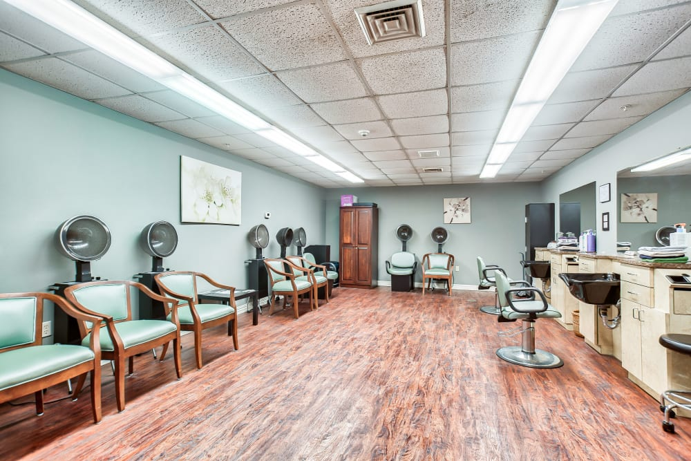 The convenient onsite hair salon at Smithfield Woods in Smithfield, Rhode Island