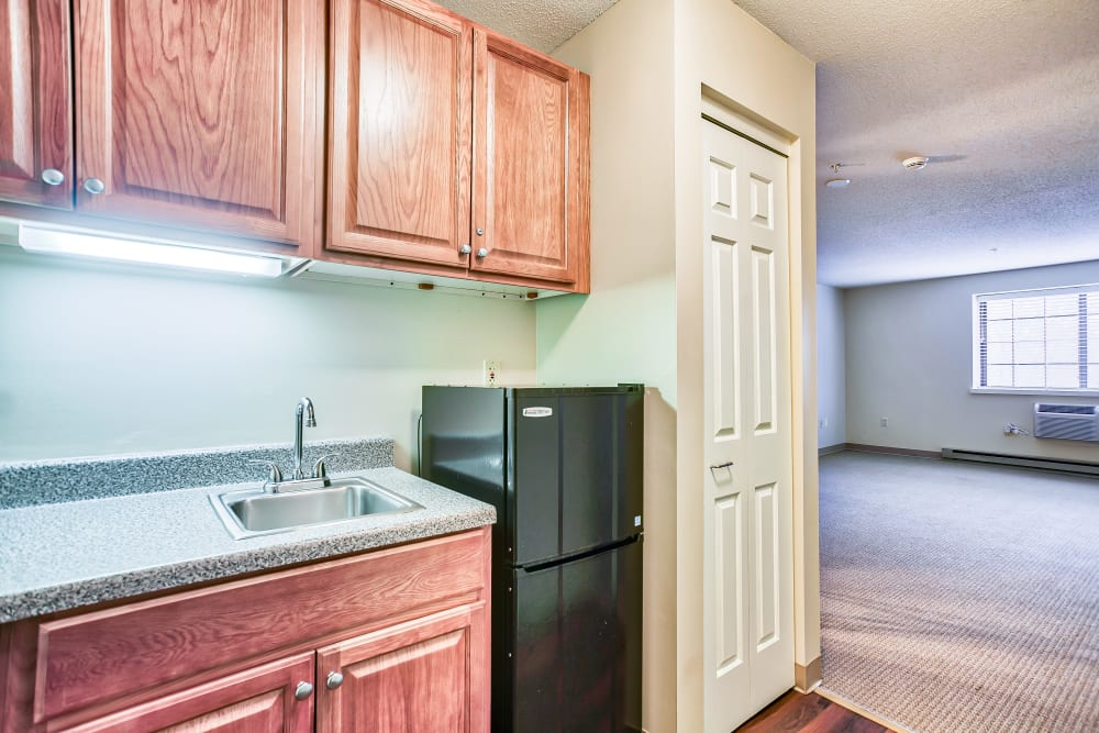 A kitchen in one of the apartments at Smithfield Woods in Smithfield, Rhode Island