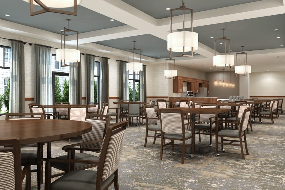 open dining hall at Anthology of Burlington Creek in Kansas City, Missouri