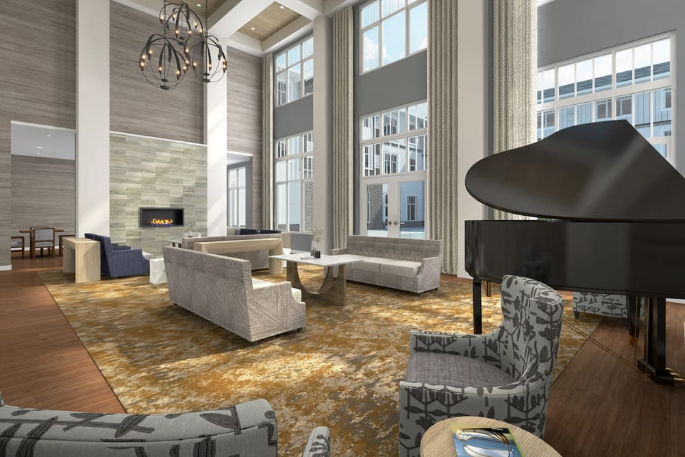 Lounge with a piano in it at Anthology of Burlington Creek in Kansas City, Missouri