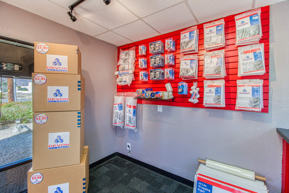 Packing supplies available at Devon Self Storage in Palm Springs, California