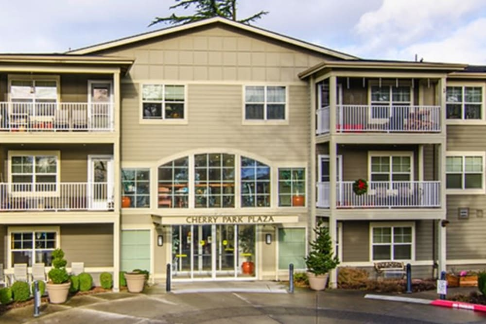 Exterior of Cherry Park Plaza senior living facility in Troutdale, Oregon