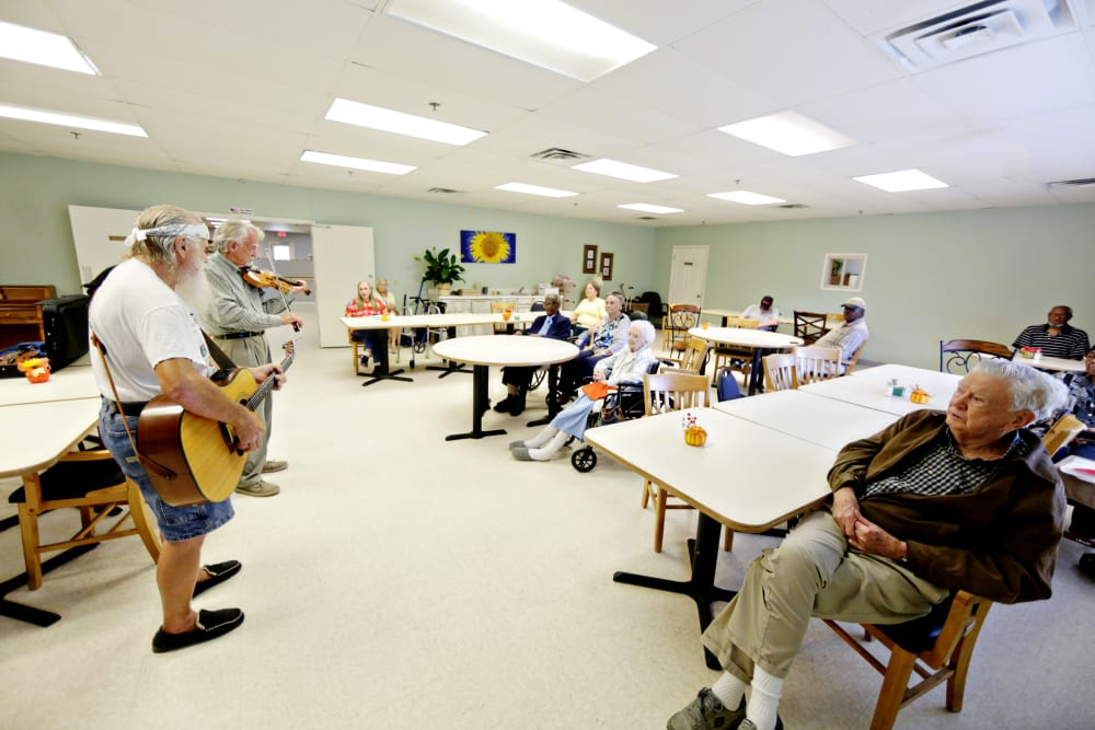 Two residents putting on a music show at Providence Assisted Living in Cleveland, Mississippi.