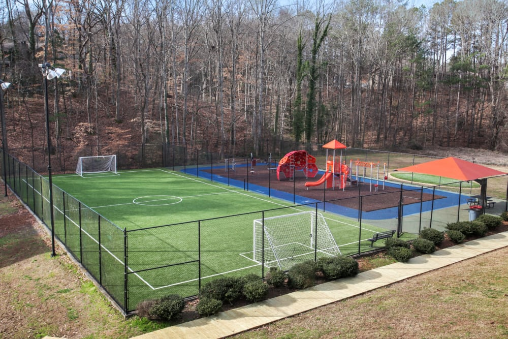 Playground and soccer field at Fields at Peachtree Corners in Norcross, Georgia