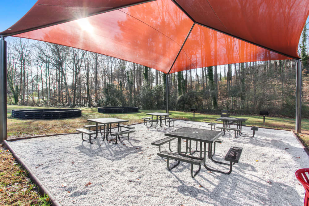 Table seating available outdoors at Fields at Peachtree Corners in Norcross, Georgia