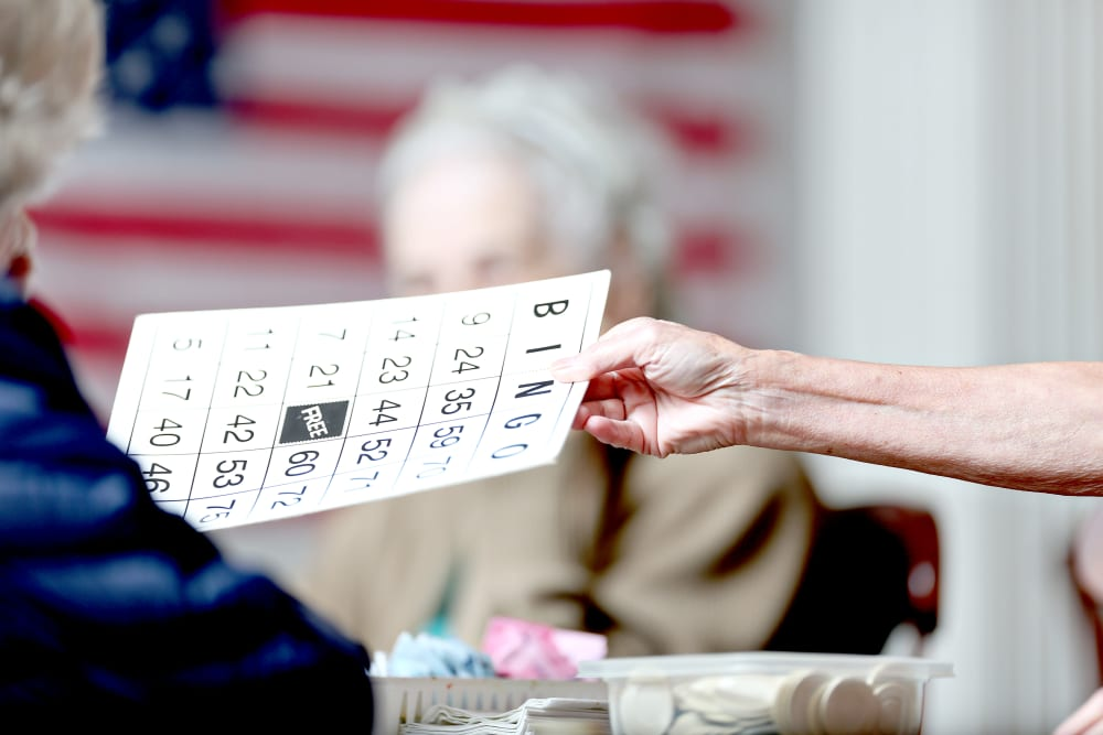 Residents playing bingo at Providence Assisted Living in Grenada, Mississippi.
