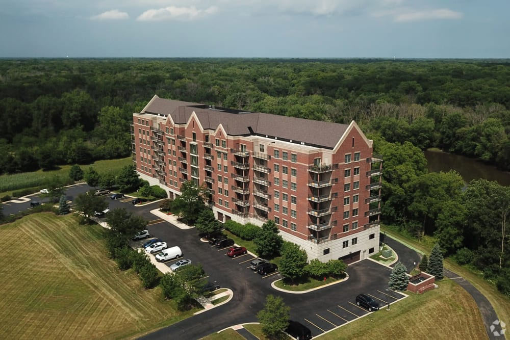 Aerial view of 301 Riverwalk Place in Buffalo Grove, Illinois