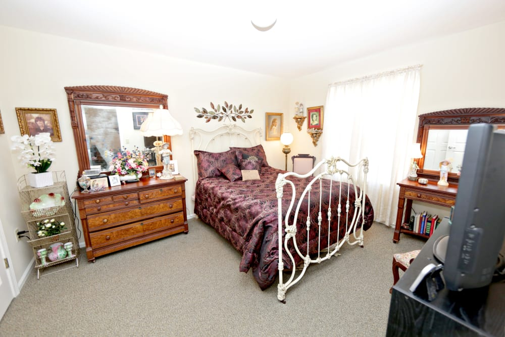 A spacious resident bedroom at Providence Assisted Living in Senatobia, Mississippi.