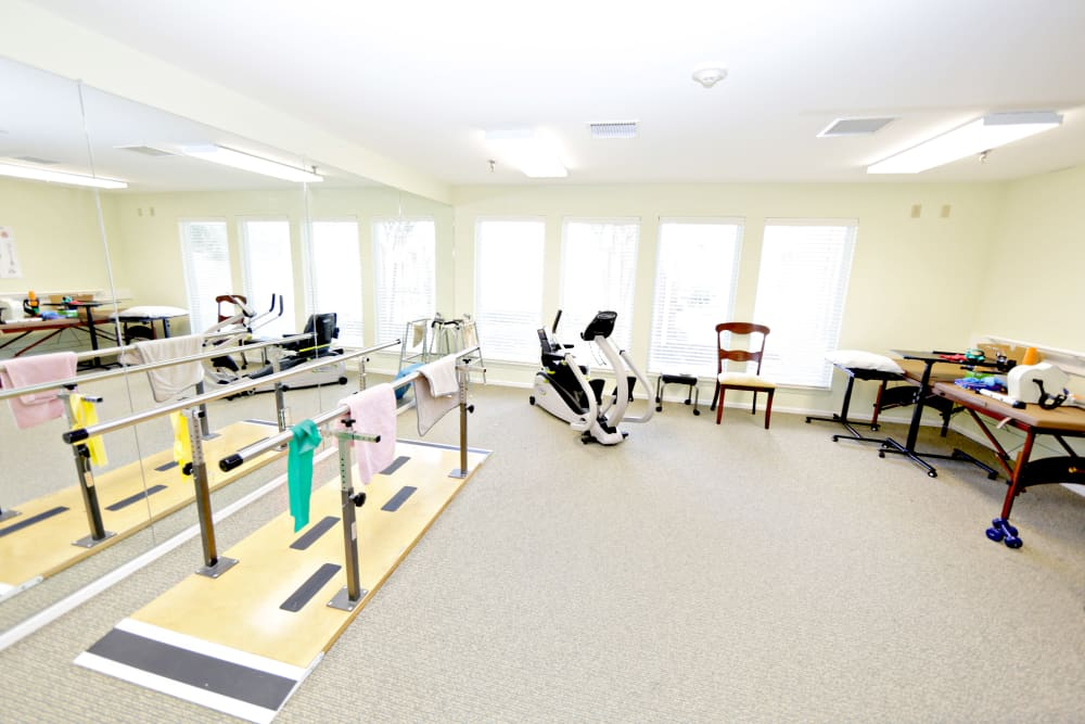 Fitness center at Providence Assisted Living in Senatobia, Mississippi.