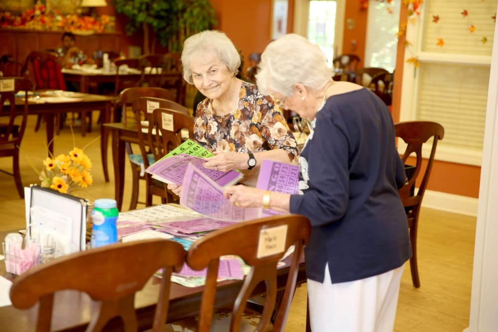 Two residents getting ready for bingo at Providence Assisted Living in Senatobia, Mississippi.