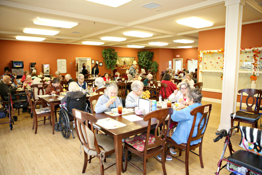 Residents eating a meal in the dining room at Providence Assisted Living in Senatobia, Mississippi.