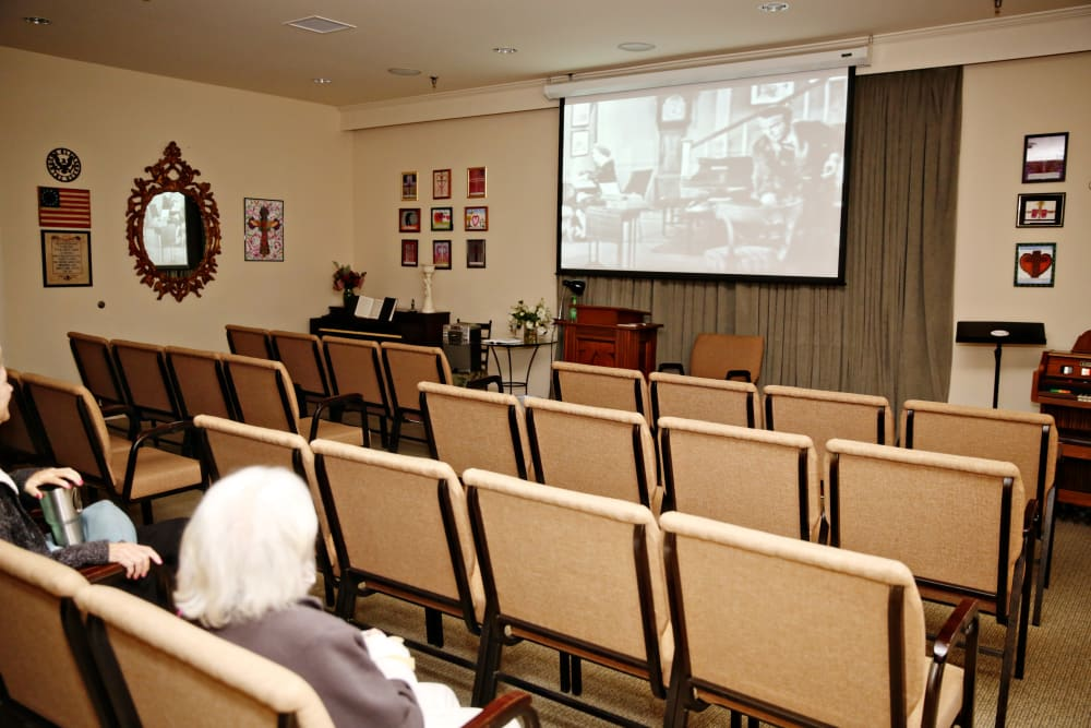 Onsite theater at Providence Assisted Living in Senatobia, Mississippi.